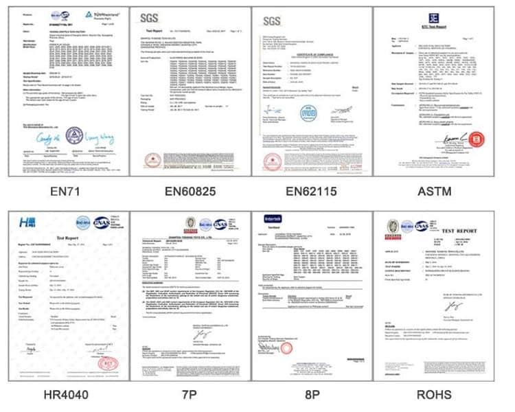 certificados de juguetes